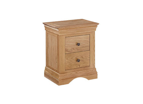 Worthing Oak 2 Drawer Bedside Cabinet